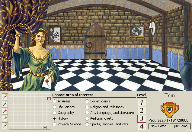 Mindmaze, non-arguably the greatest educational game ever. It consisted of aimlessly wandering around a castle being forced to answer general knowledge questions FOREVER. Brilliant.