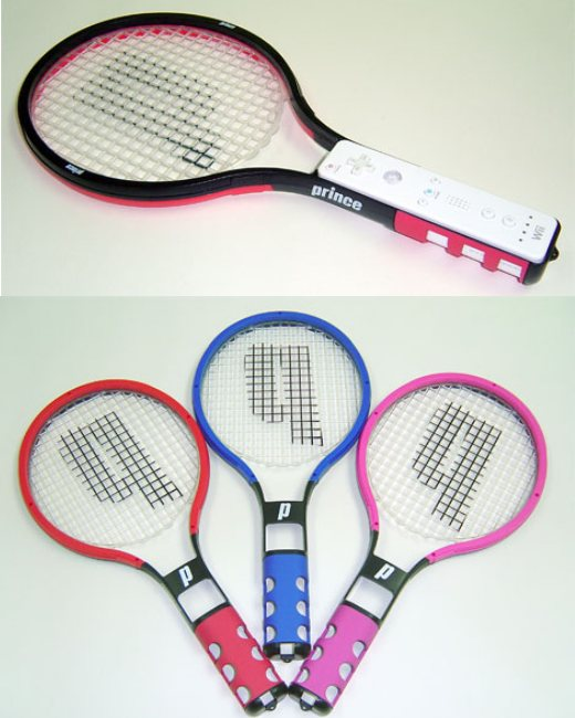 Wii tennis racquet peripherals, that are actually STRUNG. Madness.